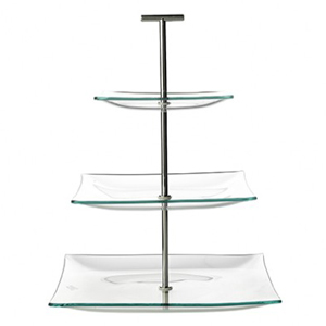 Square Glass 3 Tier Cake Stand
