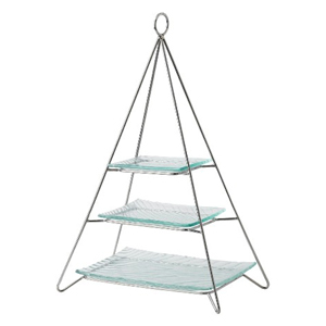 Pyramid 3 Tier Rectangular Cake Stand with Glass Plates