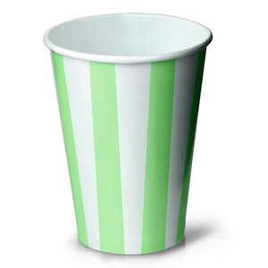 Green Striped Milkshake Paper Cups 12oz / 340ml