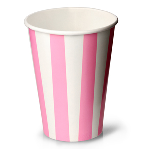 Pink Striped Milkshake Paper Cups 12oz / 340ml