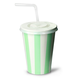 Green Striped Milkshake Paper Cups Set 12oz / 340ml