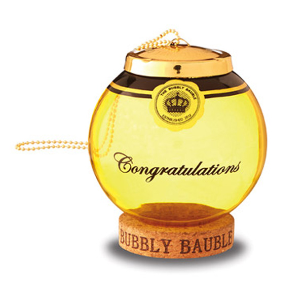 Cork Wedding Memory: Gold Glass Bubbly Bauble Cork Keepsake