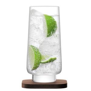 LSA City Bar Long Drink Glasses & Walnut Coasters 14oz / 400ml