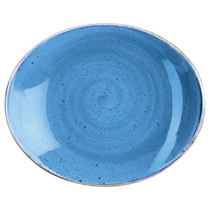 "Churchill Stonecast Cornflower Blue Oval Coupe Plate 7.75"" / 19.2cm"