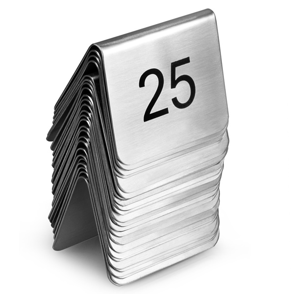 stainless steel tent style table numbers set 1 25