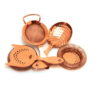 Bonzer Heritage Copper Plated Cocktail Strainer Set