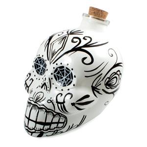 Day of the Dead Skull Decanter White