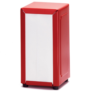 Red Stainless Steel Napkin Dispenser with 250 Napkins