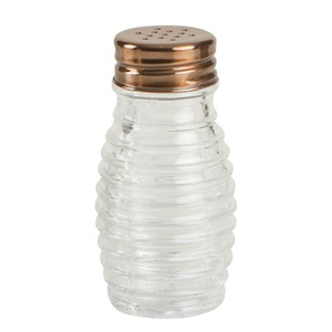Beehive Glass Salt and Pepper Shakers with Copper Finish Lid