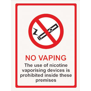 Vaping Prohibited Window Sticker