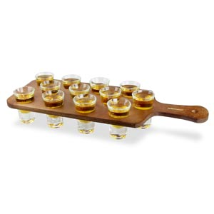 Pine Shot Paddle Board with 12 Hot Shot Glasses LCE