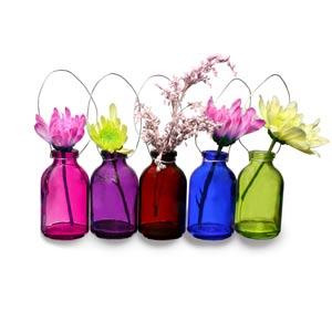 Hanging Mini Coloured Bottles