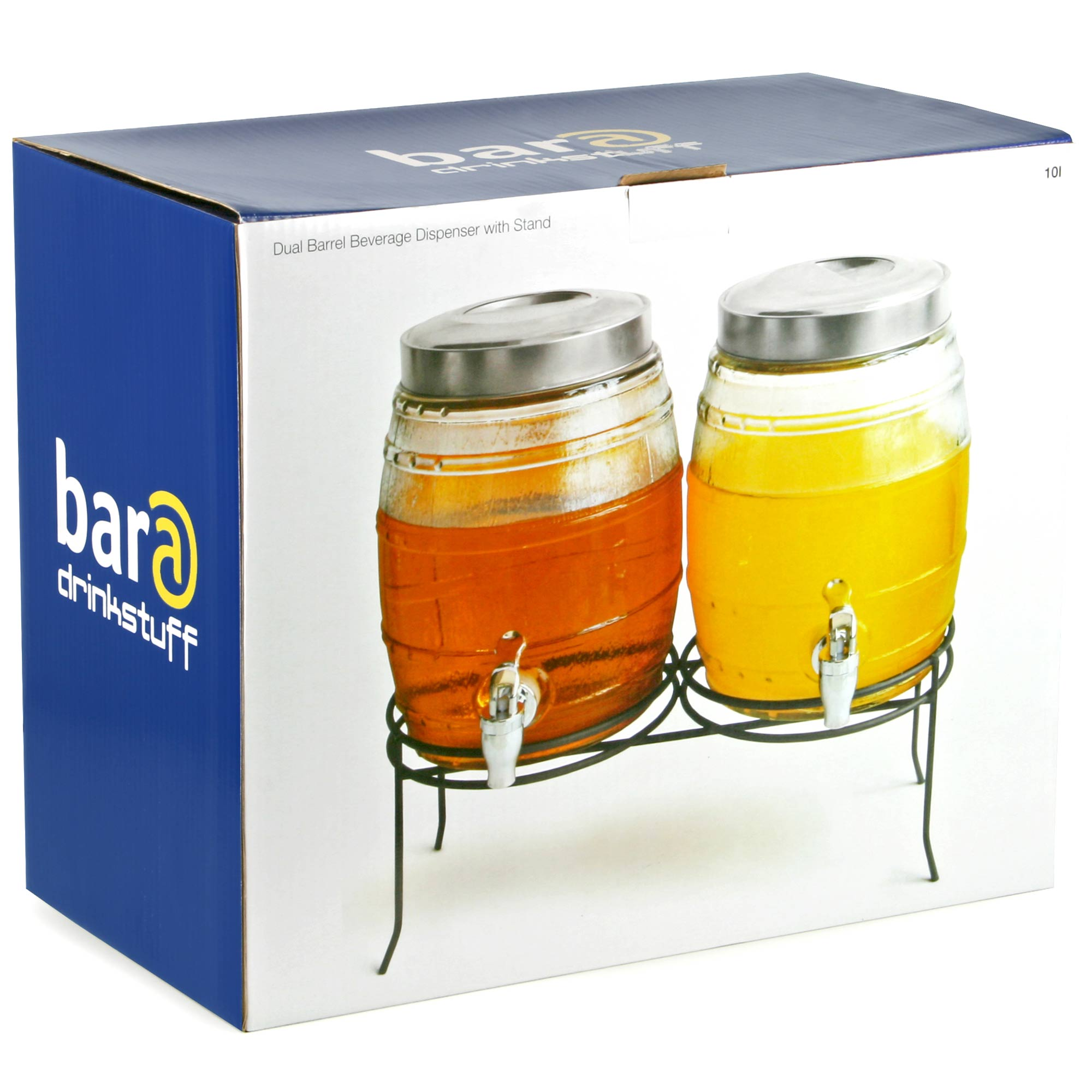 Dual Barrel Beverage Dispenser With Stand 10ltr Beverage