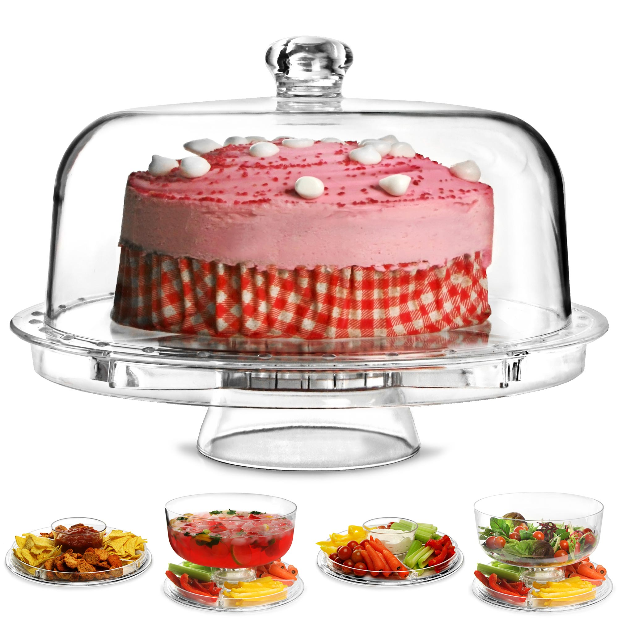 Multifunctional 5 in 1 Cake Stand and Dome