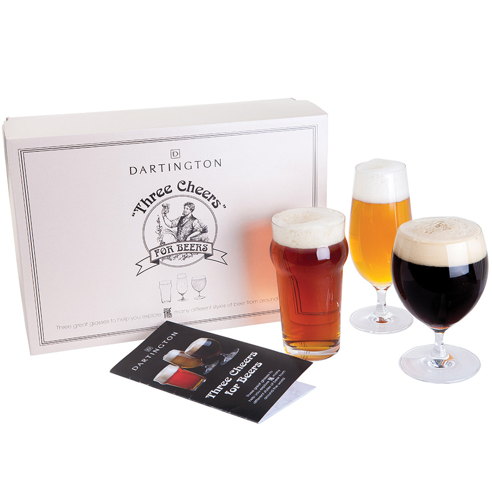 Dartington three cheers for beers craft beer glasses gift for Craft beer gift set
