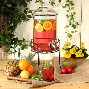 Round Drink Dispenser with Stand 168oz / 4.8ltr