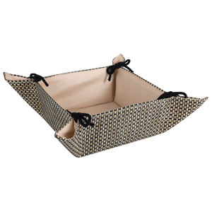Image of Beige Tie Fabric Bread Basket (Case of 24)