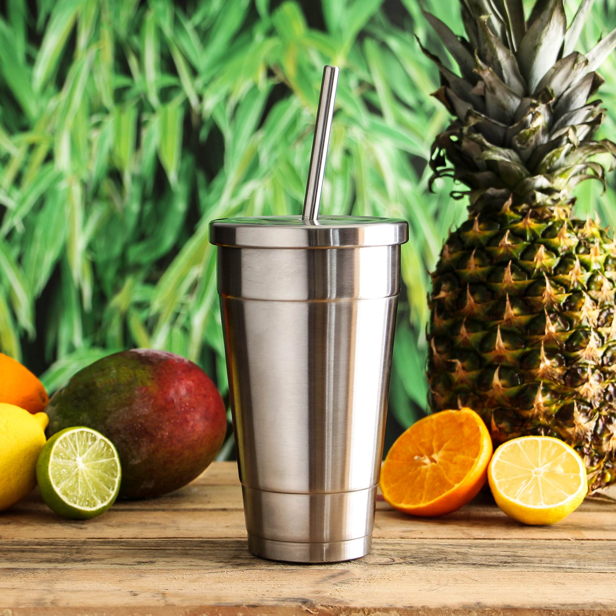 Insulated Stainless Steel Cold Cup With Lid And Straw 16oz