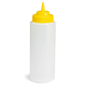 Natural Squeeze Bottle with Yellow Top 32oz / 945ml