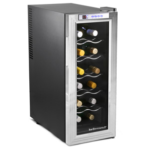 Sommelier 12 Bottle Wine Cellar Black and Silver