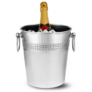 Stainless Steel Round Wine & Champagne Bucket with Decorative Band