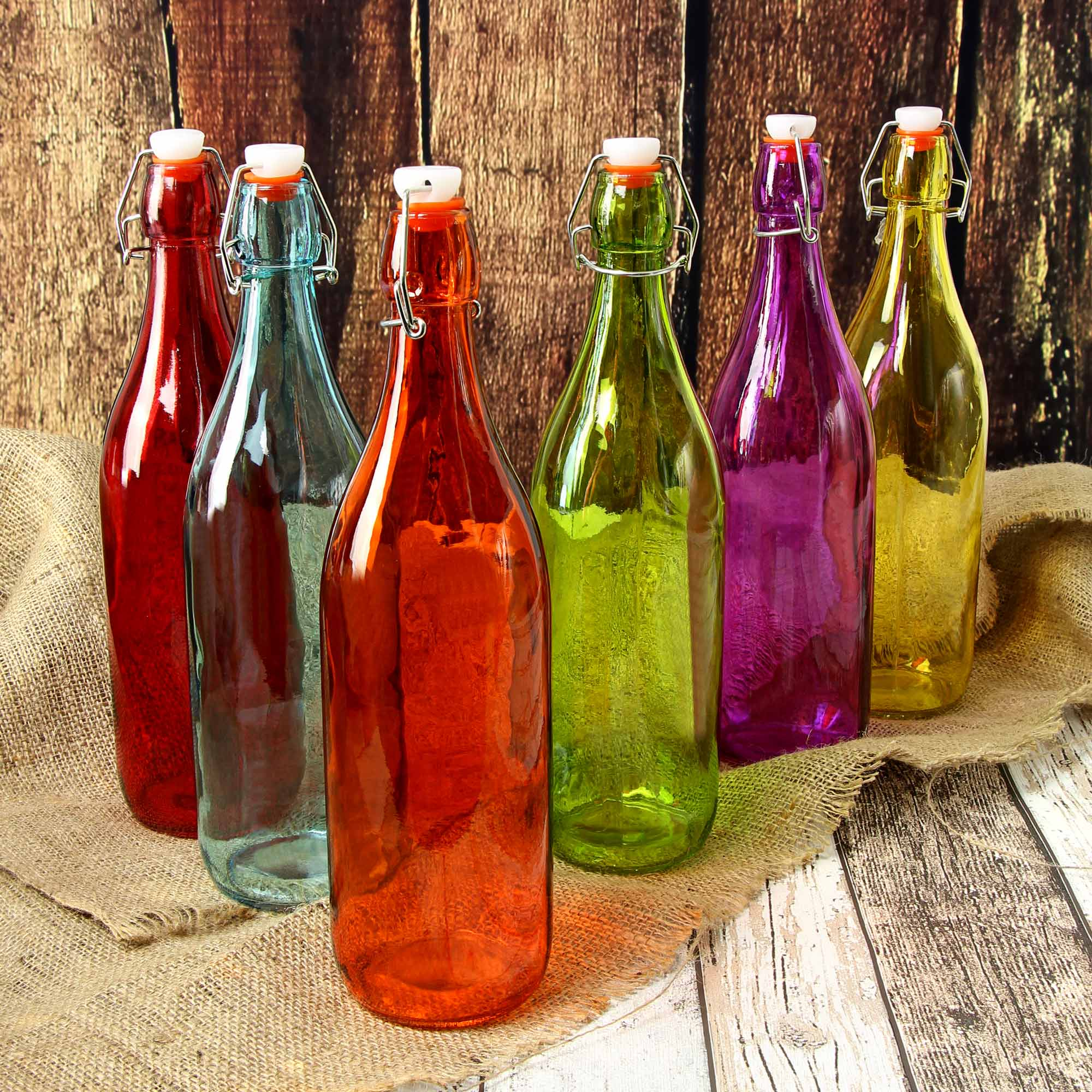 Coloured Glass Swing Top Bottles 1ltr