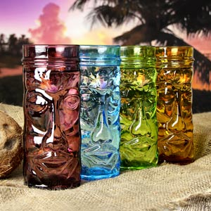 Coloured Glass Tiki Mugs 14oz / 400ml