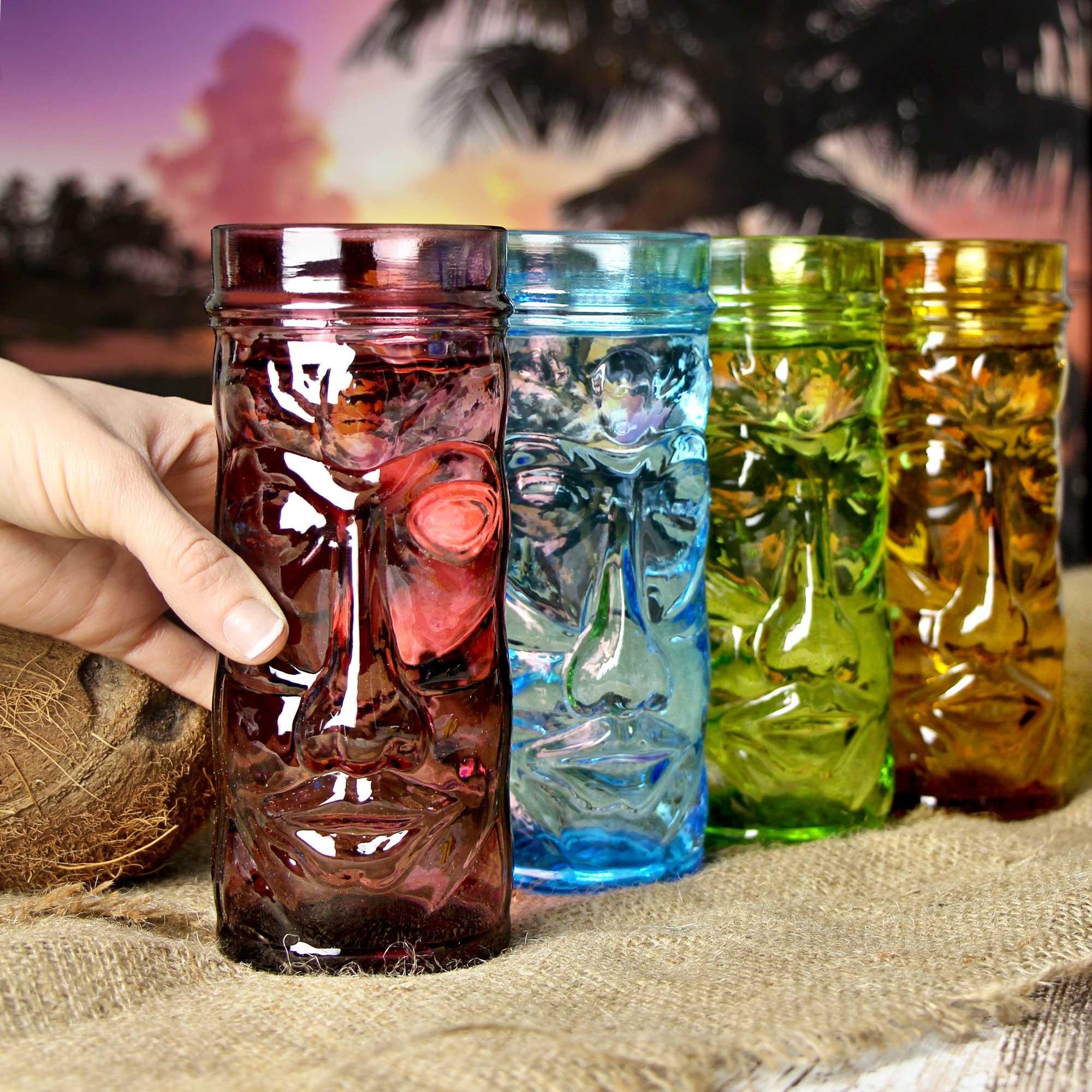 coloured glass tiki mugs for cocktails buy at drinkstuff. Black Bedroom Furniture Sets. Home Design Ideas