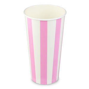 Pink Striped Milkshake Paper Cups 20oz / 568ml