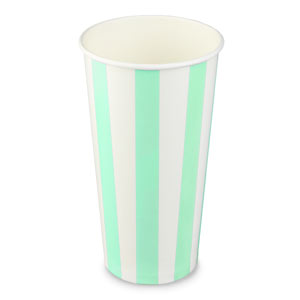 Green Striped Milkshake Paper Cups 20oz / 568ml