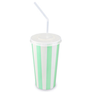 Green Striped Milkshake Paper Cups Set 20oz / 568ml