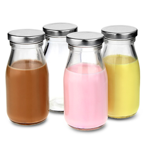 Mini Milk Bottles with Lids 7oz / 200ml