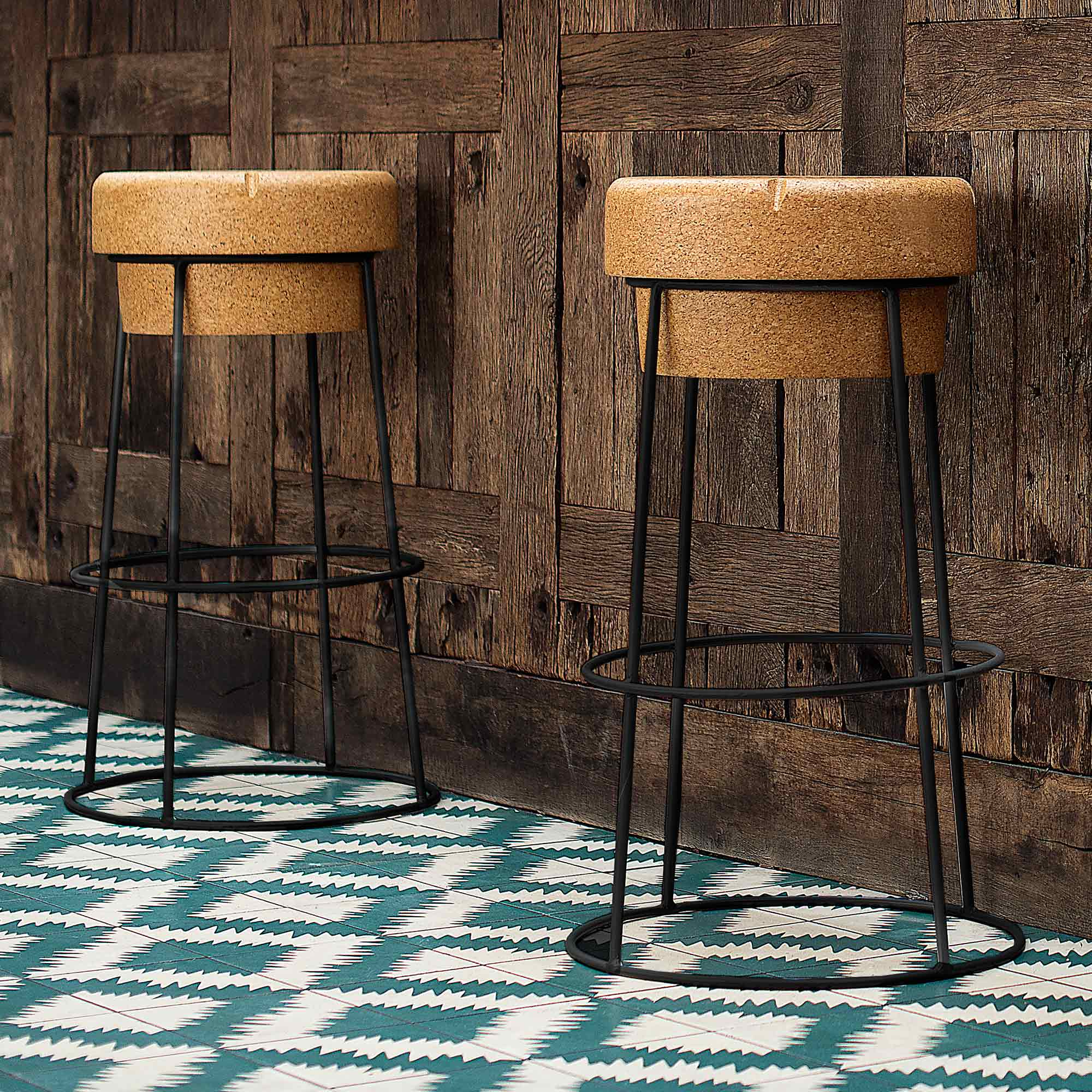 Novelty Champagne Cork Bar Stool With Black Steel Legs