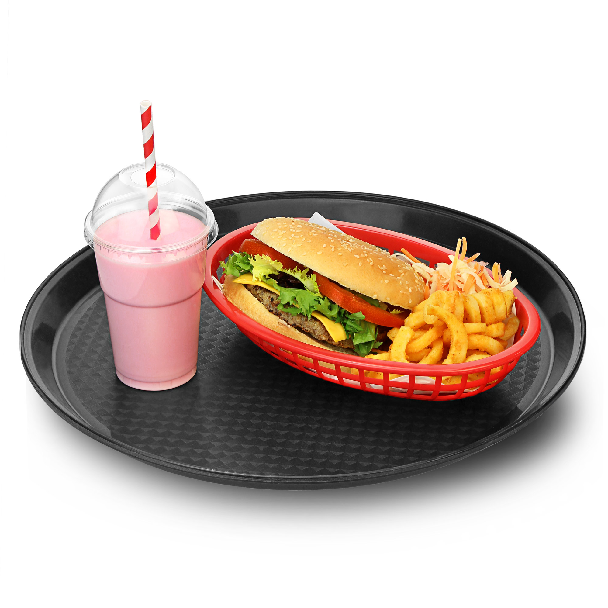 Round Black Plastic Stackable Fast Food Tray 14 Inch