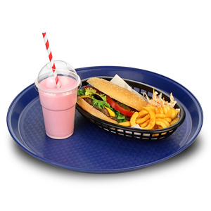 Round Fast Food Tray Blue 14inch