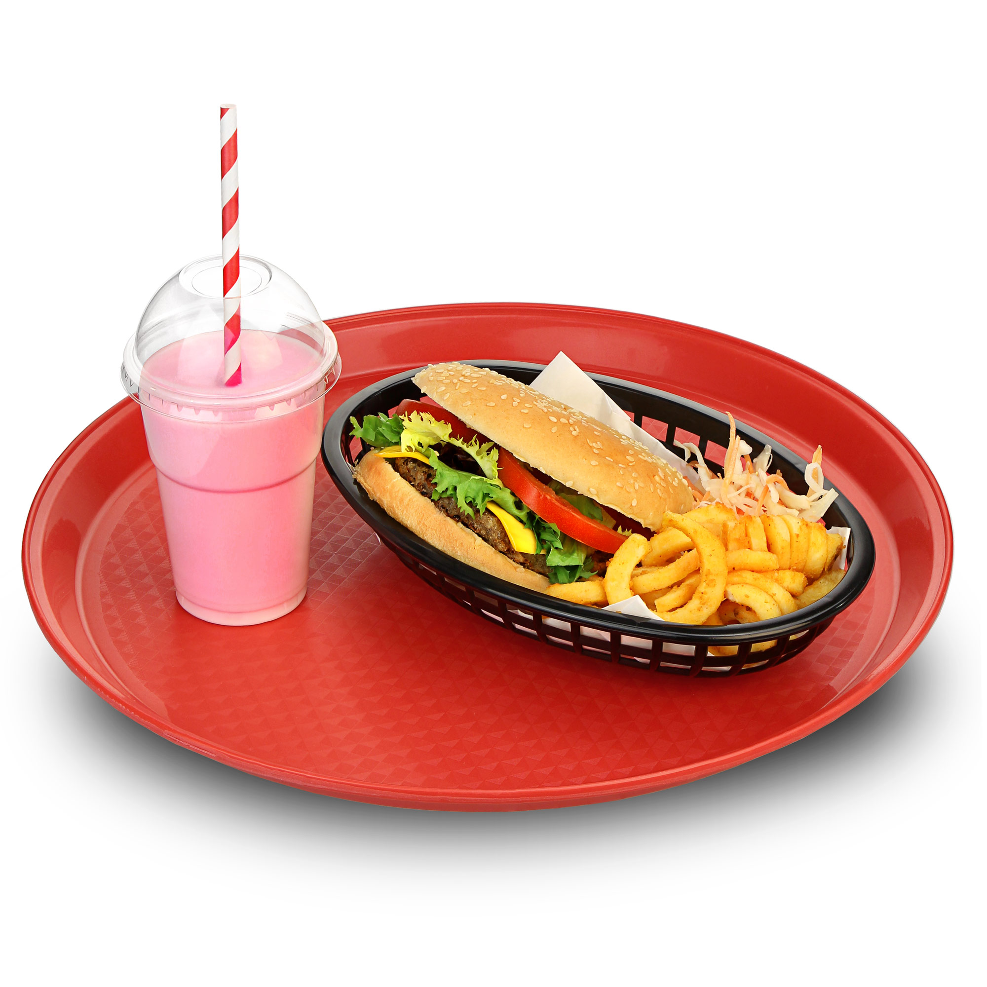 Round Red Plastic Stackable Fast Food Tray 14 Inch