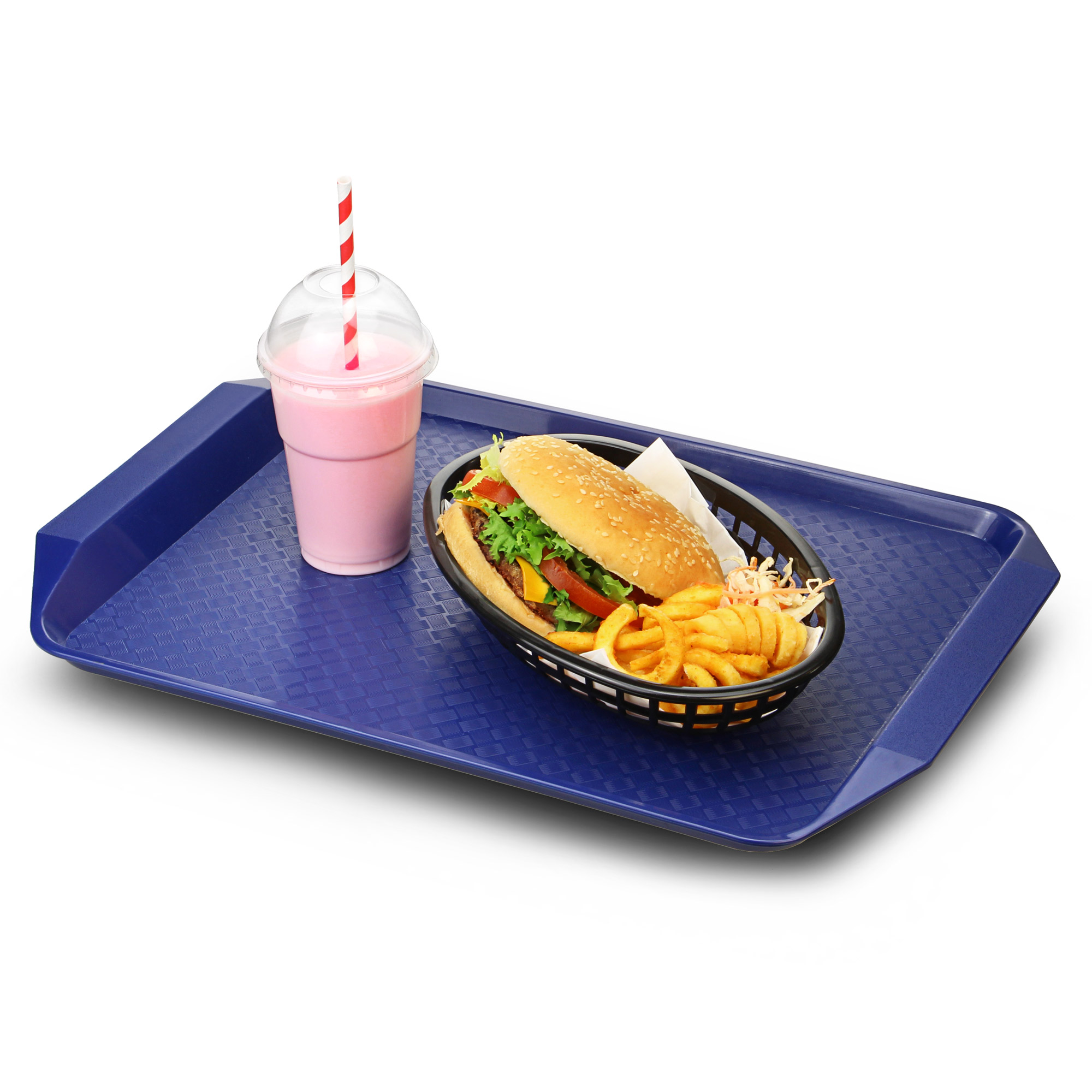 Blue Plastic Fast Food Tray With Handles 17 X 12 Quot