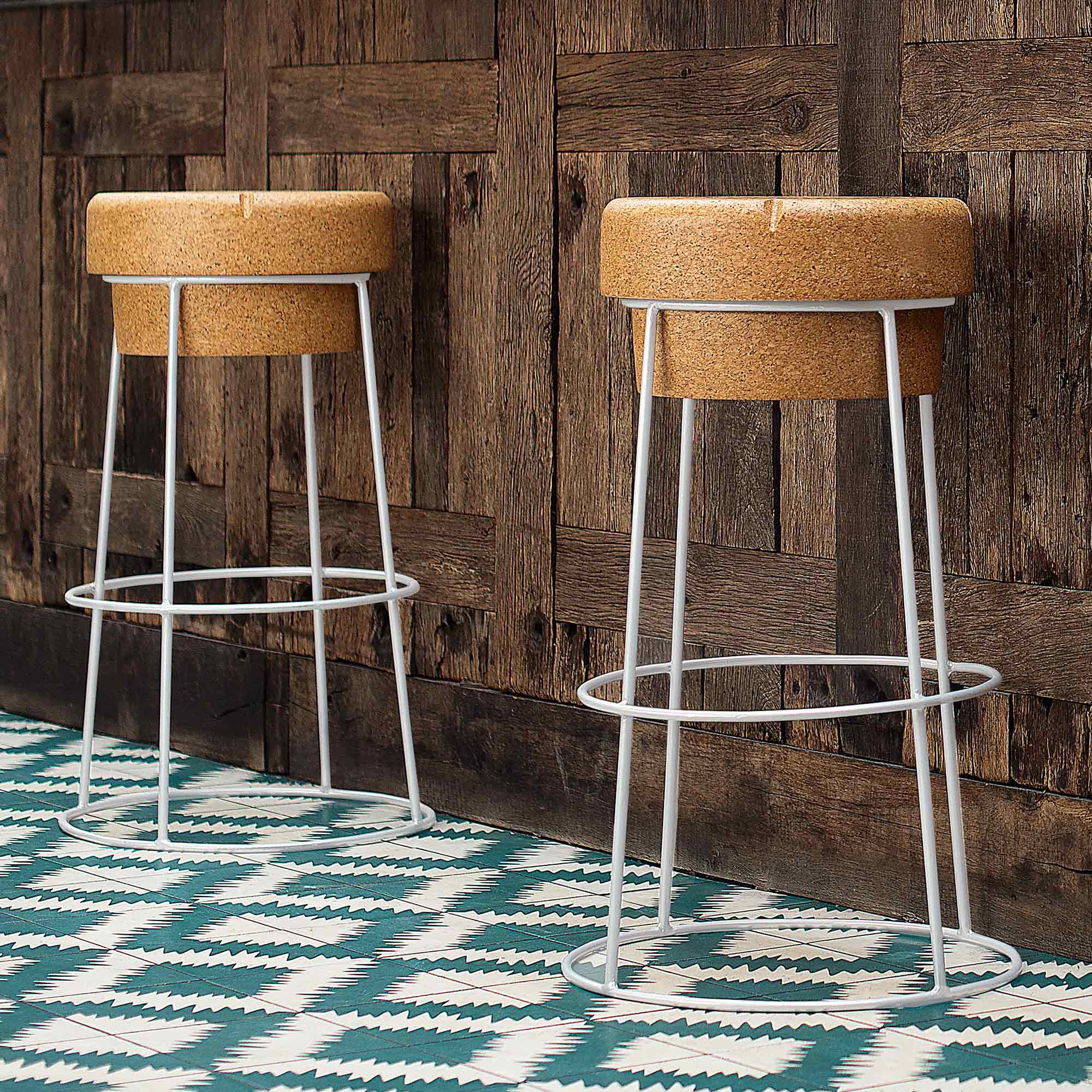 Novelty Champagne Cork Bar Stool With White Steel Legs