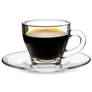 Borgonovo Taza Ischia Espresso Glass and Saucer 2.8oz / 80ml
