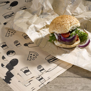Custom Printed Brown Greaseproof Paper 335 x 250mm