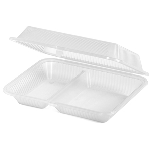 Eco-Takeouts 2-Compartment Rectangle Food Container 10 x 8 x 3inch - Clear