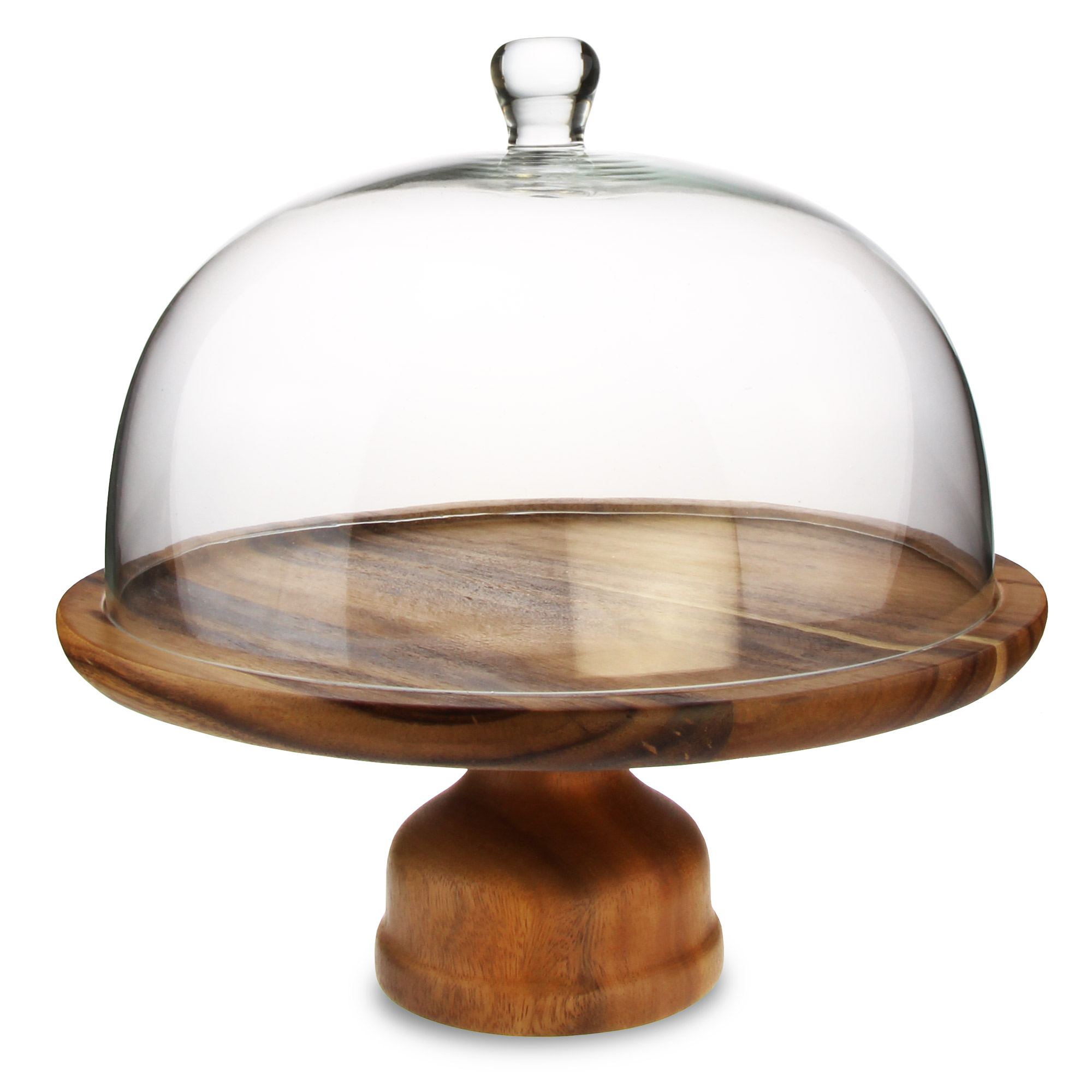 Genware Acacia Wood Cake Stand and Glass Cake Dome  sc 1 st  Drinkstuff & Genware Wooden Cake Stand and Dome Set at drinkstuff.com