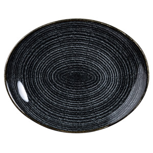 Studio Prints Homespun Orbit Oval Coupe Plate Charcoal Black 10.62inch / 27cm