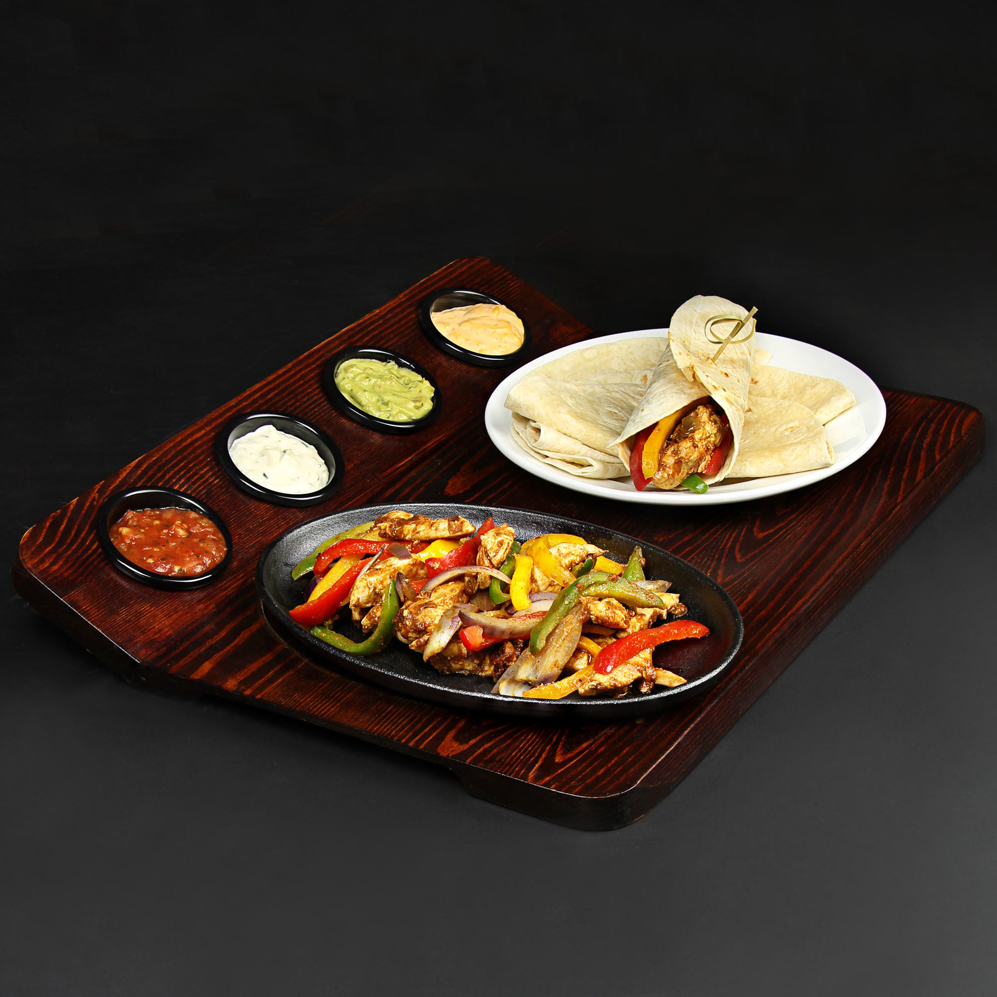 Fajita Serving Board With Sizzle Platter Set