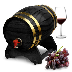Wooden Wine Barrel Dispenser Black Pine 5ltr