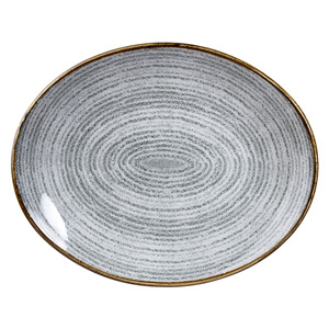 Studio Prints Homespun Orbit Oval Coupe Plate Stone Grey 10.62inch / 27cm