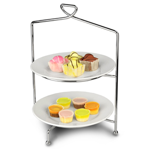 Utopia Savoy 2 Tier Cake Plate Stand 33cm with 23cm Plates