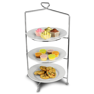Utopia Savoy 3 Tier Cake Plate Stand 46cm with 23cm Plates
