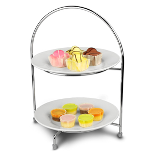 Utopia Chrome 2 Tier Cake Plate Stand 32cm with 23cm Plates