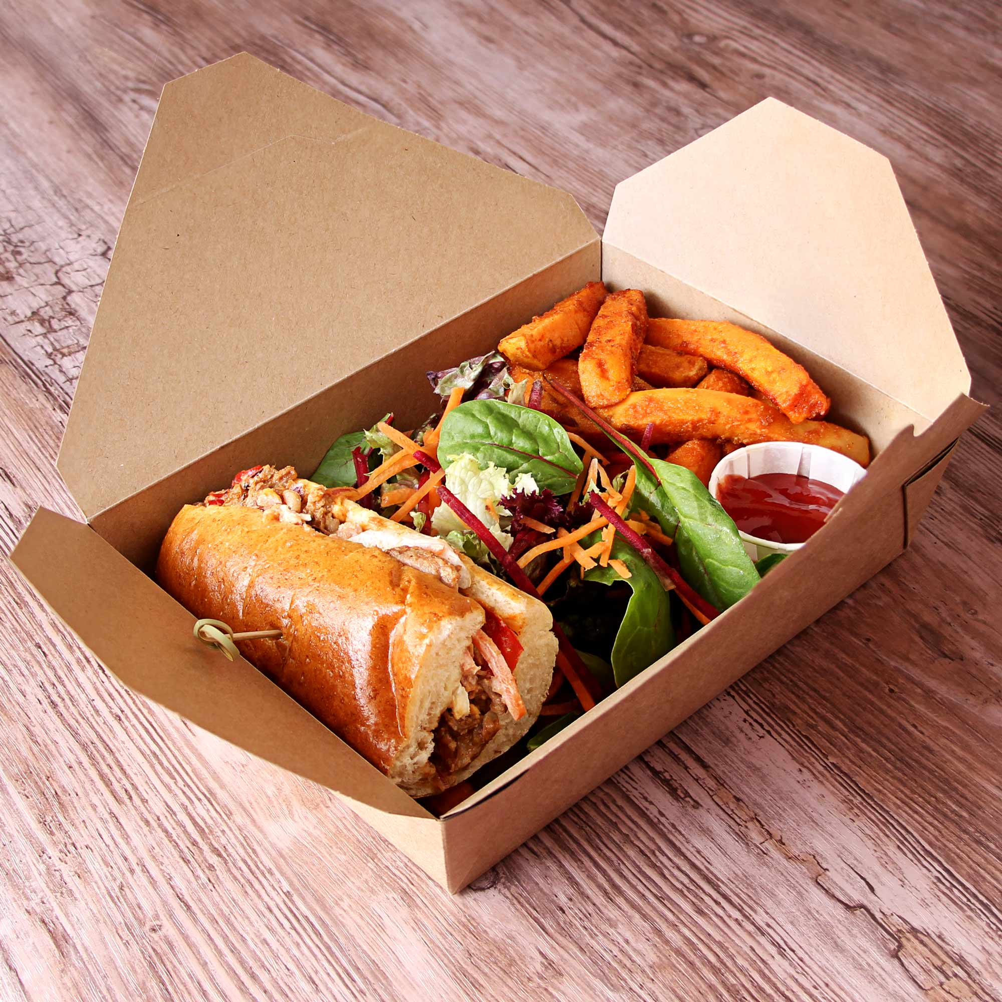Kraft compostable hot food to go takeaway box 215x157mm for Perfect kitchen harrogate takeaway